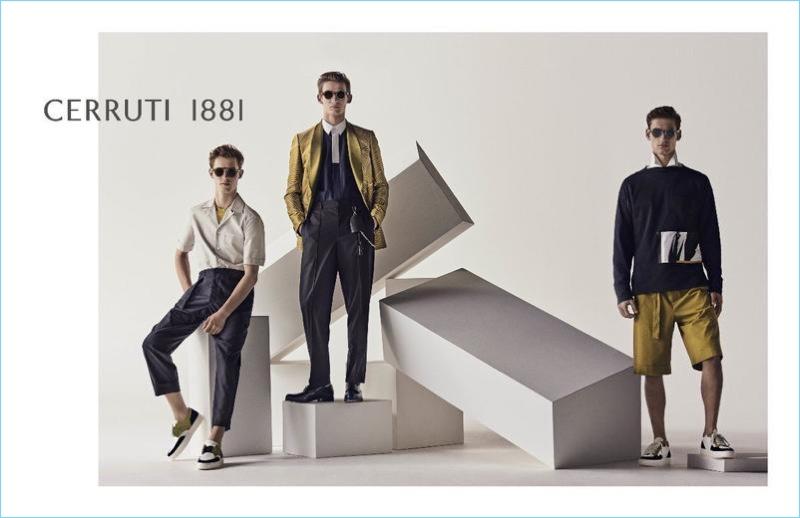 Models Kit Butler, Christopher Einla, and David Trulik appear in Cerruti 1881's spring-summer 2018 campaign.
