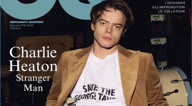 Charlie Heaton covers the January 2018 issue of GQ Italia.