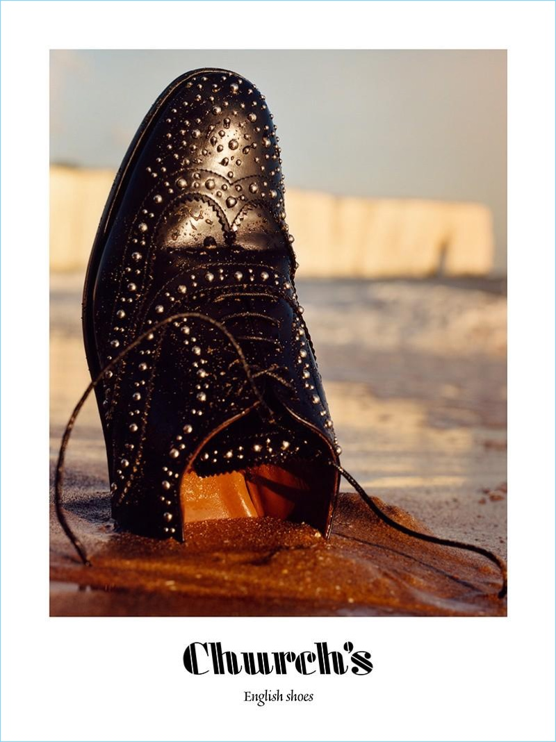 A studded dress shoe lands in the spotlight for Church's spring-summer 2018 campaign.