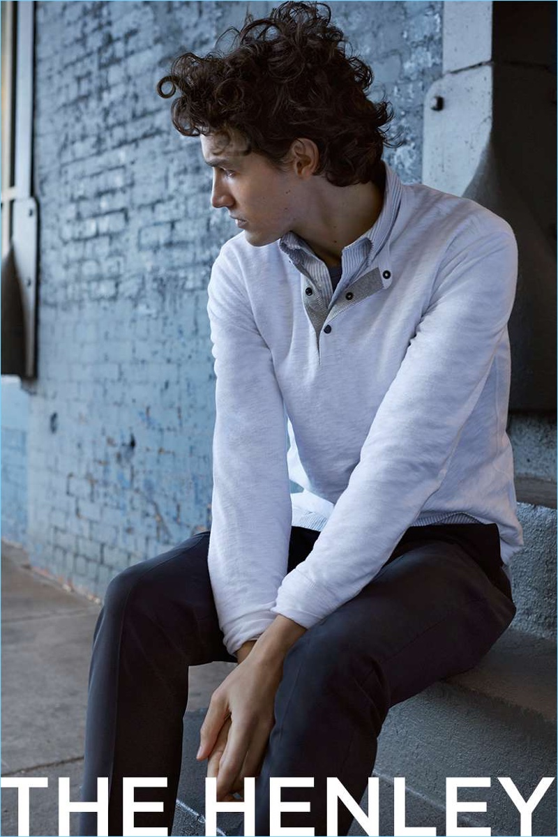 Take a style note from Club Monaco and layer with a henley shirt.
