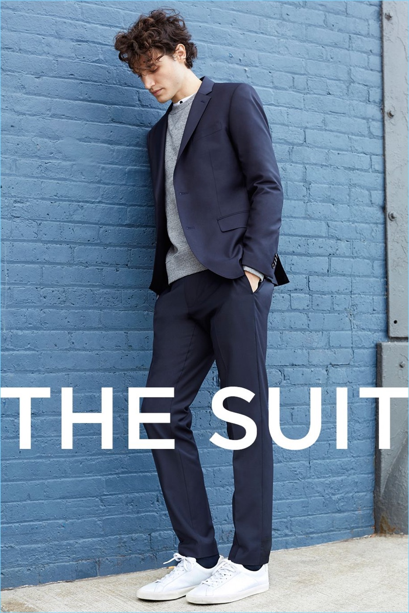 Remix the suit with the addition of a sweatshirt and henley.