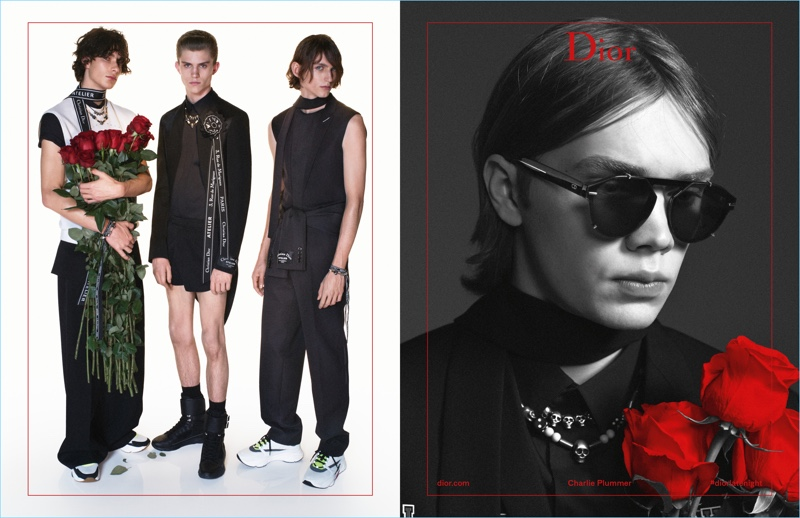 Anton Jaeger, Andreas Wolf, Henry Rausch, and Charlie Plummer appear in Dior Homme's spring-summer 2018 campaign.