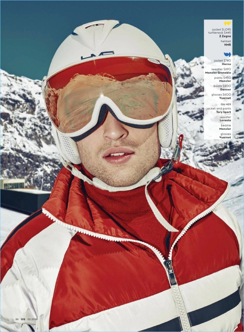 Douglas Booth Sports 70s Inspired Ski Style for GQ