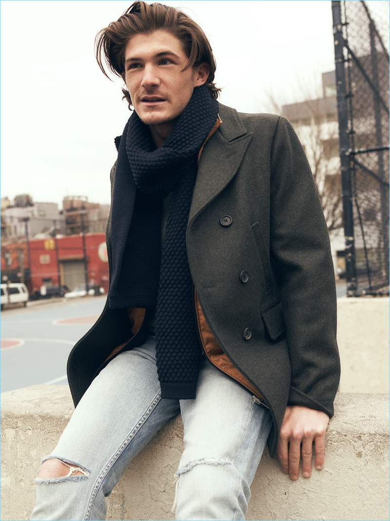 East Dane makes a case for the classic coat with Billy Reid's Bond peacoat. Here, it's worn with Theory vest, Rag & Bone Standard Issue jeans, and a S.N.S. Herning scarf.