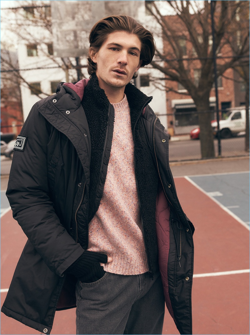 Stay warm in an Obey parka. Men's retailer East Dane styles it with a Rag & Bone sweater, Norse Projects fleece jacket, and Our Legacy jeans.