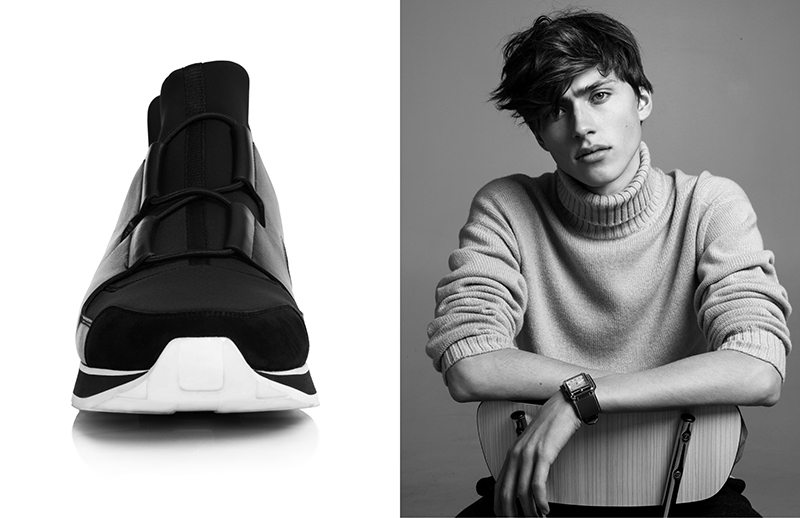 Sitting for a black and white portrait, Sep wears Hermès.