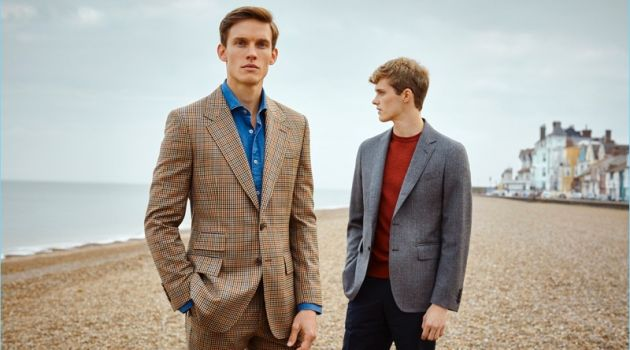 Models Chris Doe and Hamish Quigley front Gieves & Hawkes' spring-summer 2018 campaign.