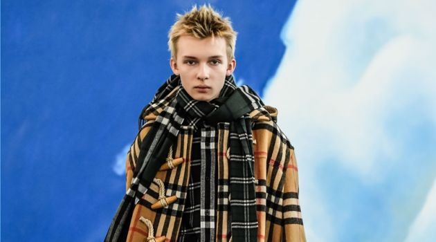 A check duffle coat is an easy standout from Gosha Rubchinskiy's fall-winter 2018 Burberry collaboration.