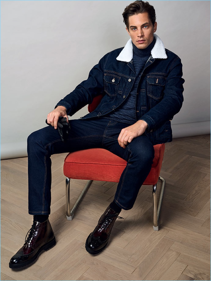 Doubling down on denim, Greg Nawrat stars in a trend shoot for Reserved.