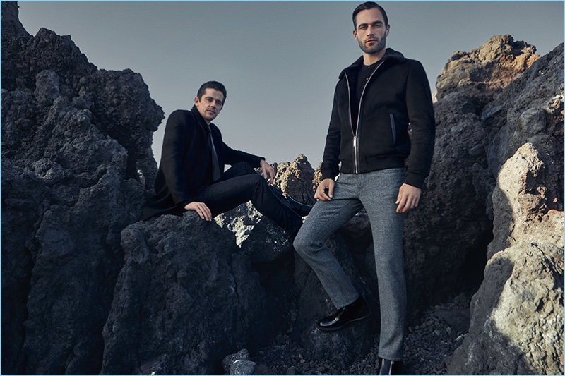 Models Werner Schreyer and Christian Santamaria reunite with Hiltl for fall-winter 2018.