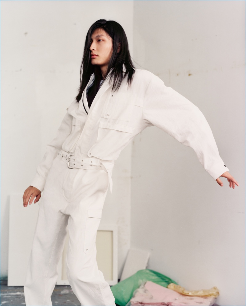 Zheng dons an all-white look for HUGO's spring-summer 2018 campaign.