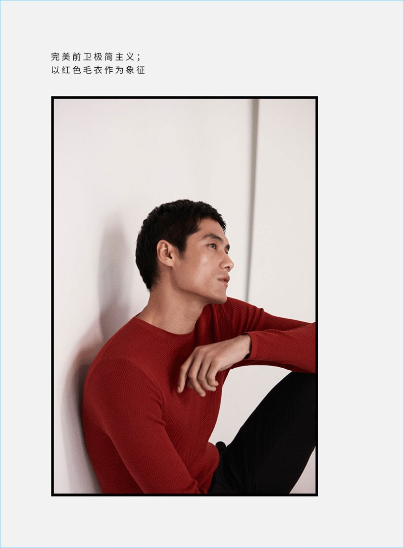 Model Hao Yun Xiang wears red and black fashions by Massimo Dutti.