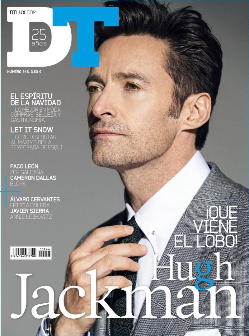 Donning a grey suit, Hugh Jackman covers DT Spain.