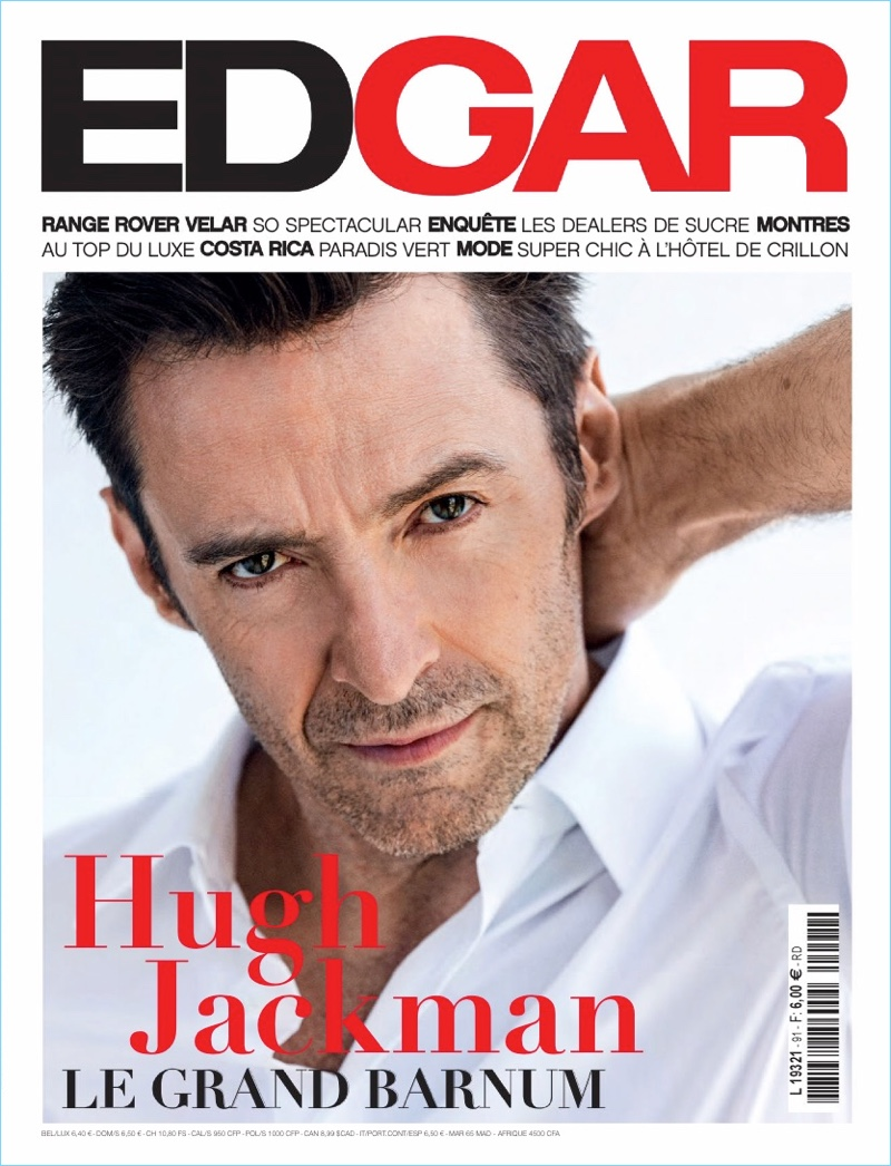 Wearing a crisp white shirt, Hugh Jackman covers Edgar magazine.