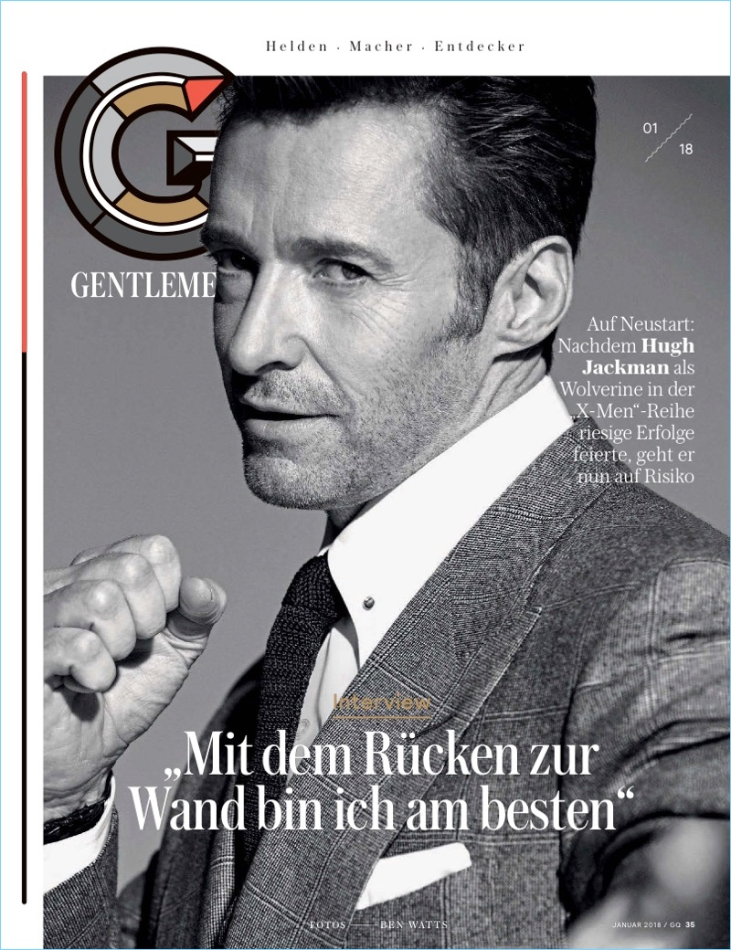Packing a sartorial punch, Hugh Jackman appears in a GQ Germany feature.