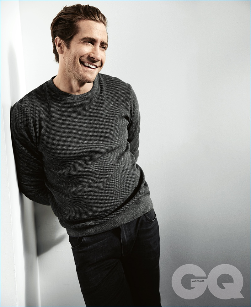 All smiles, Jake Gyllenhaal appears in a photo shoot for GQ Australia.