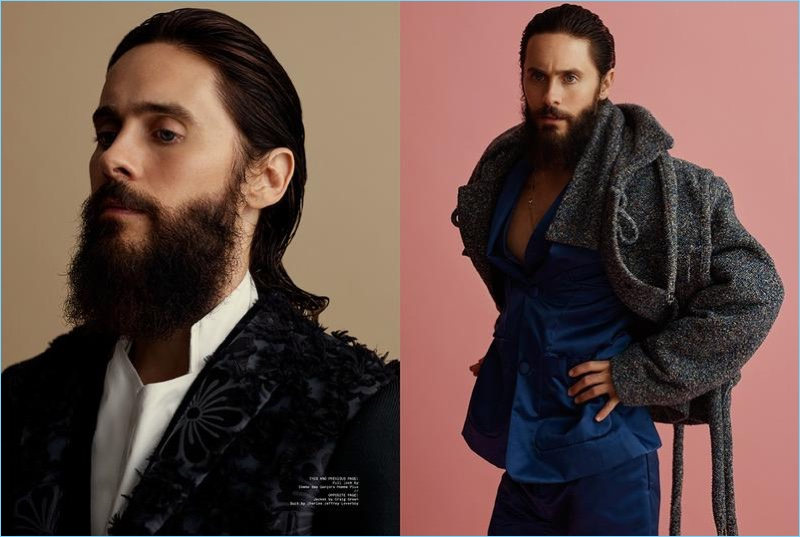 Actor Jared Leto wears flamboyant styles for the pages of Clash magazine.