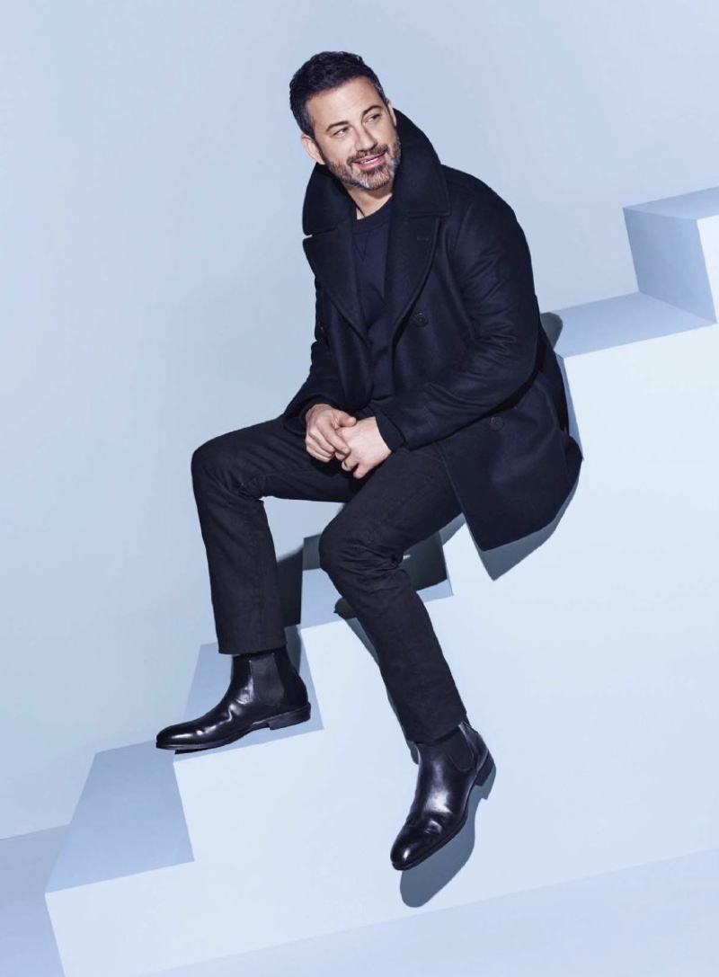 All smiles, Jimmy Kimmel wears a POLO Ralph Lauren look with To Boots New York boots.