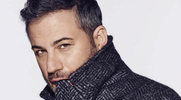 Starring in a photo shoot, Jimmy Kimmel wears a Prada coat and shirt.