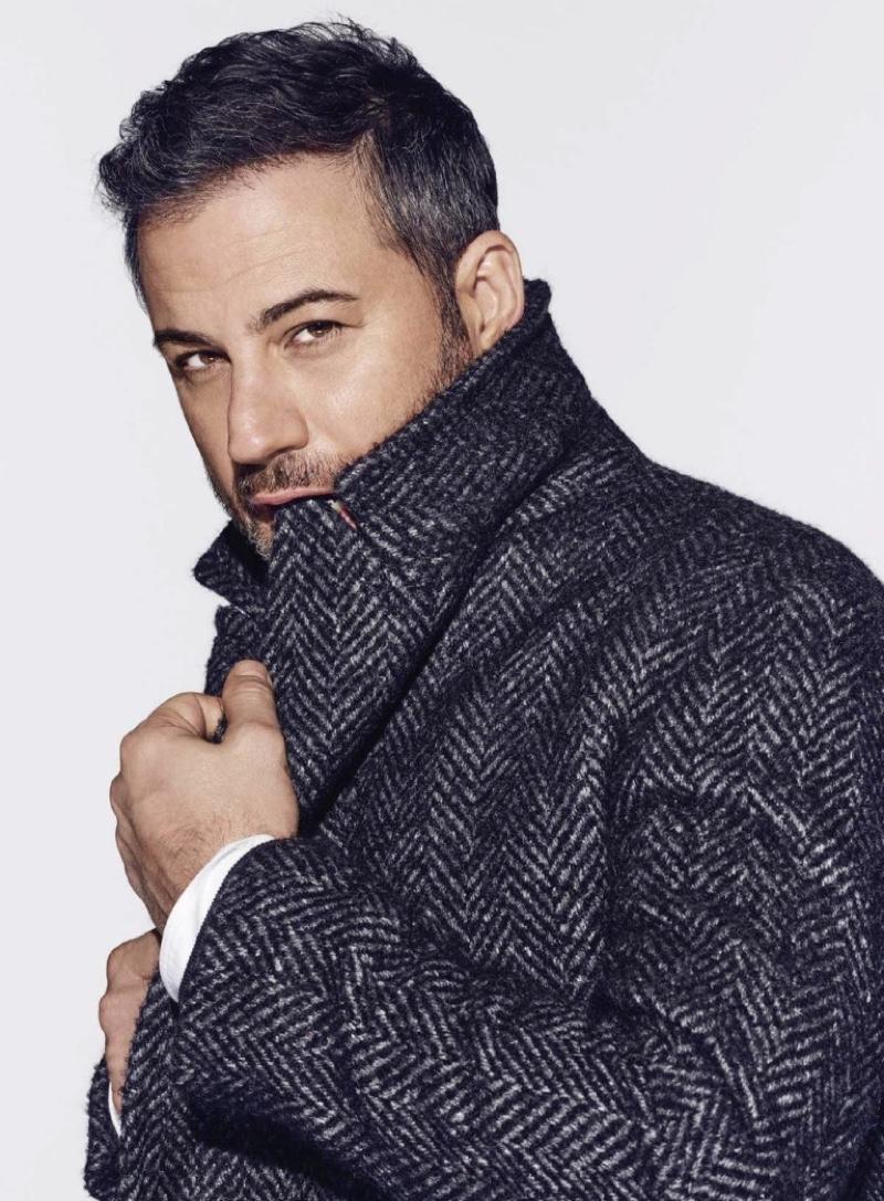 Starring in a photo shoot, Jimmy Kimmel wears a Prada coat and shirt.