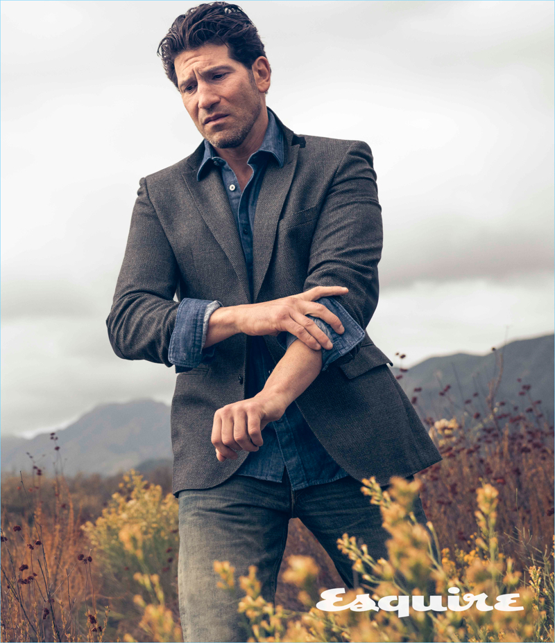 Actor Jon Bernthal wears a BOSS jacket and shirt with Simon Miller jeans.