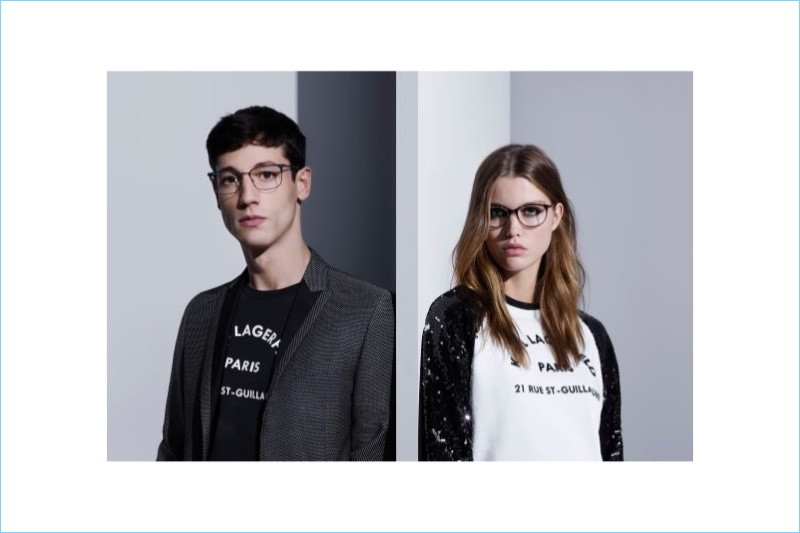 Models Nicolas Ripoll and Luna Bijl don glasses for Karl Lagerfeld's spring-summer 2018 campaign.