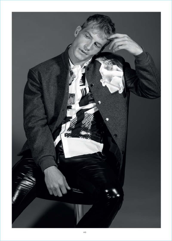 American model Jesse Shannon appears in a shoot for L'Officiel Hommes Brasil.