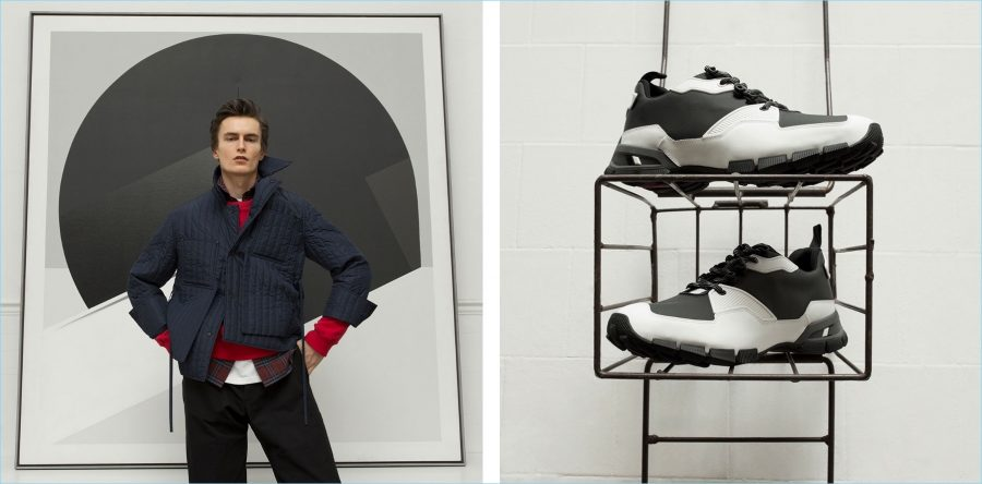 Left: Posing front and center, Jack Chambers wears a quilted Craig Green jacket with a red J.W. Anderson sweatshirt. A Burberry check shirt, Martine Rose t-shirt, and Oliver Spencer trousers complete his look. Right: Prada mesh sneakers.