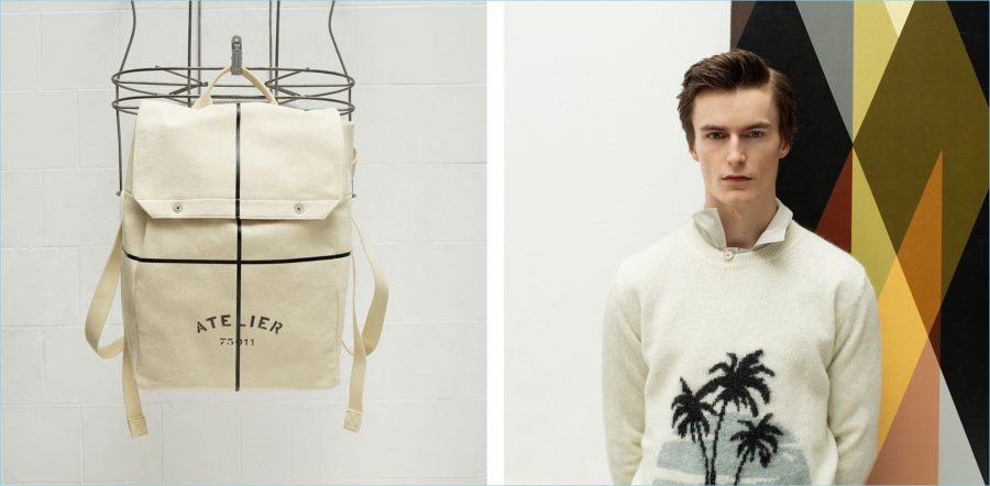 Left: Maison Margiela printed canvas backpack. Right: Jack Chambers sports a palm tree sweater by Saint Laurent with a Balenciaga shirt.