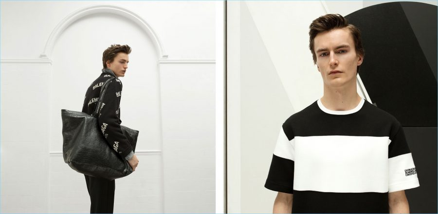 Left: Wearing a Balenciaga logo sweater, Jack Chambers takes hold of one of the brand's leather bags. Jack also wears a bleached denim shirt by Valentino. Right: Model Jack Chambers wears a Calvin Klein striped t-shirt.