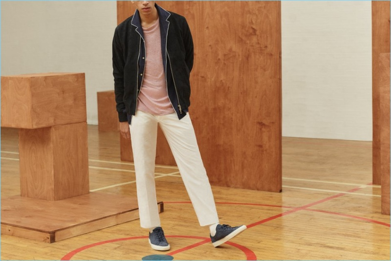 Officine Generale delivers classics such as a suede bomber jacket, piped shirt, linen t-shirt, and chinos. Mr Porter completes the smart casual look with Common Projects sneakers.