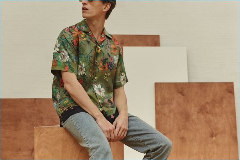 Gucci elevates the Hawaiian print shirt with its silk take. Pair the statement piece with denim jeans and aviator sunglasses.