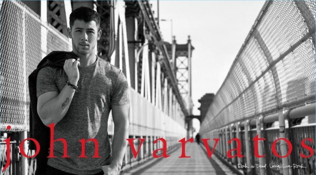 Singer Nick Jonas appears in John Varvatos' spring-summer 2018 campaign.