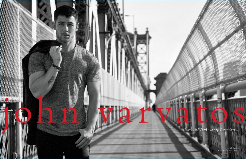 Singer Nick Jonas appears in John Varvatos' spring-summer 2018 campaign.