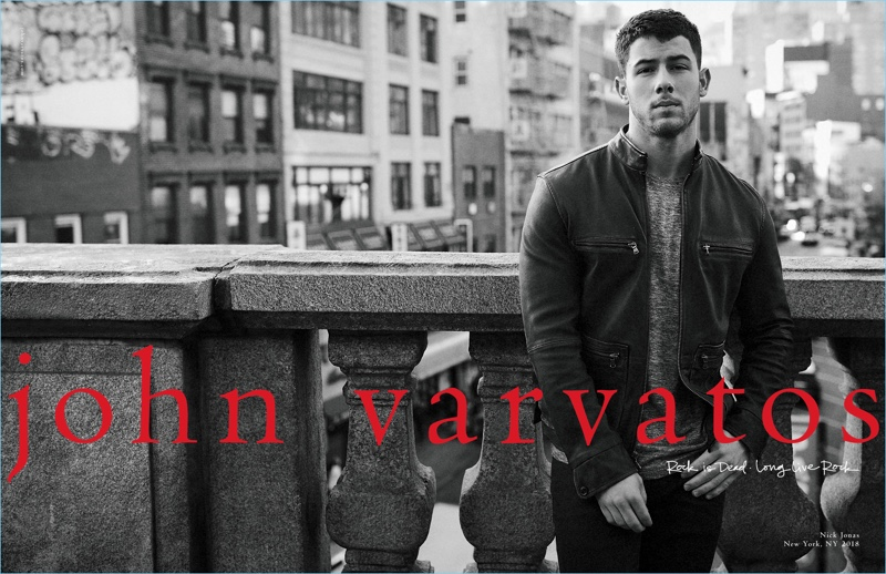 John Varvatos enlists Nick Jonas as the star of its spring-summer 2018 campaign.