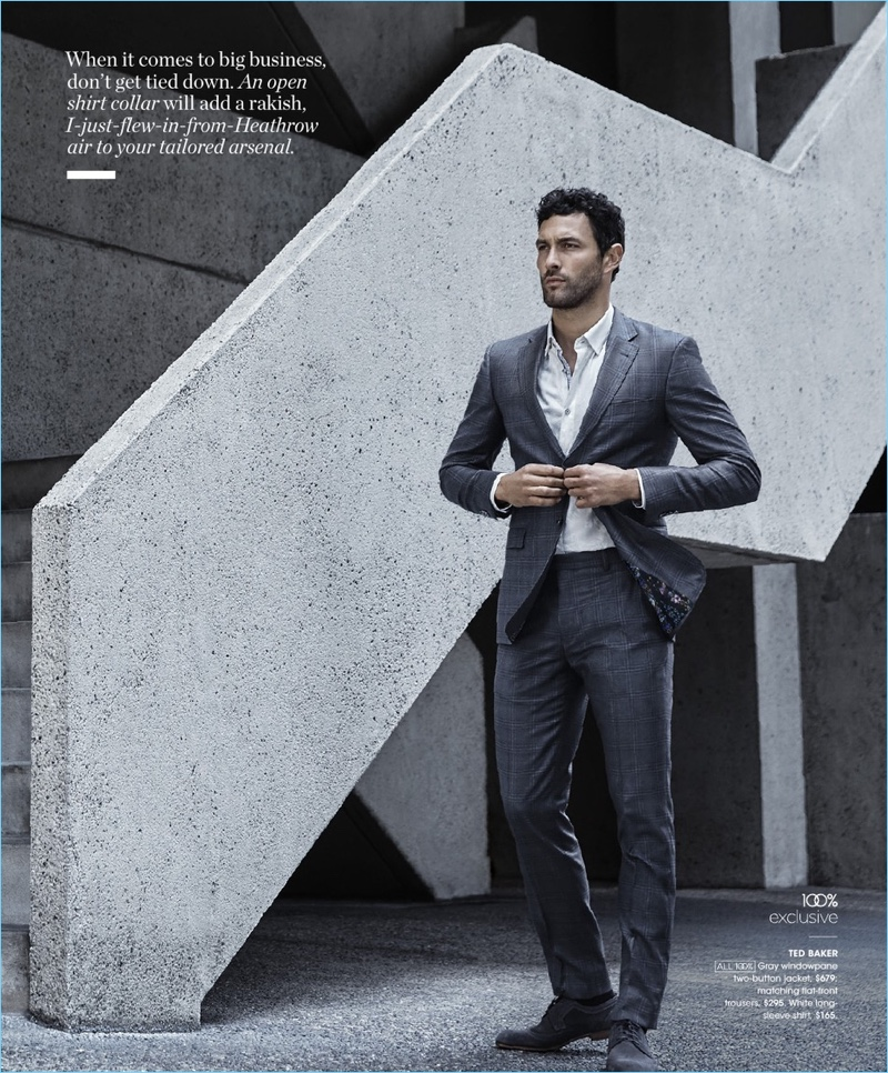 Noah Mills suits up in Ted Baker.