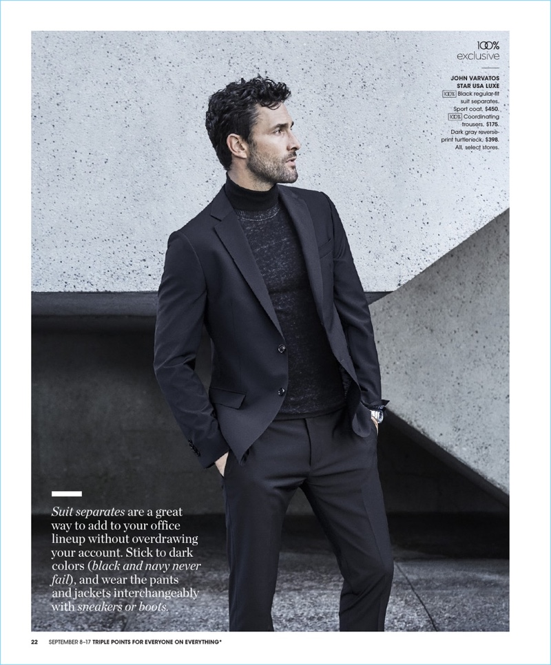 Making a case for suit separates, Noah Mills dons pieces by John Varvatos Star USA Luxe.