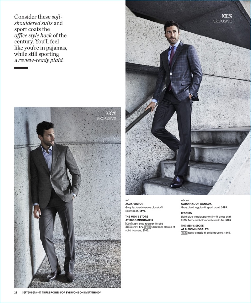 Donning professional style, Noah Mills wears Jack Victor, Cardinal of Canada, The Men's Store at Bloomingdale's, and Ledbury.