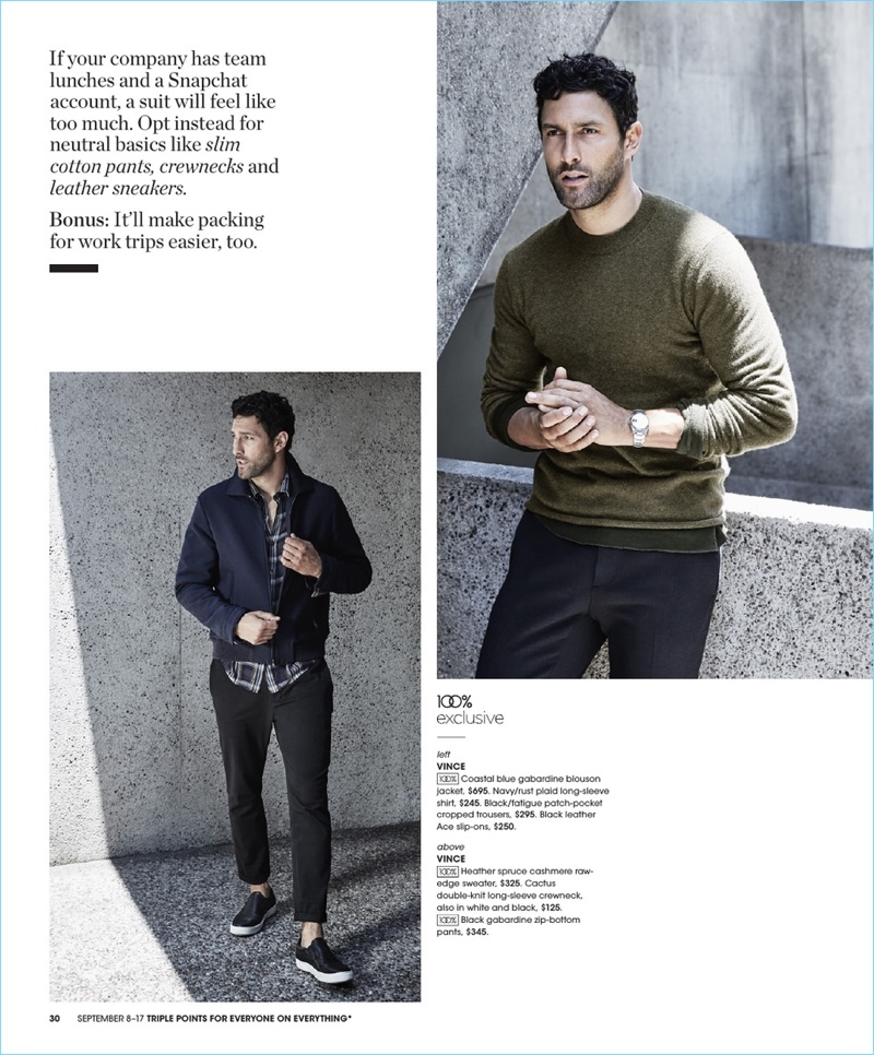 Reuniting with Bloomingdale's, Noah Mills wears pieces by Vince.