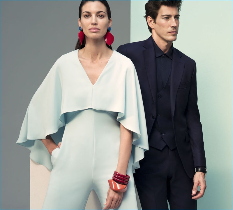 Models Davinia Pelegrí  and Oriol Elcacho come together for Pedro del Hierro's spring-summer 2018 outing.