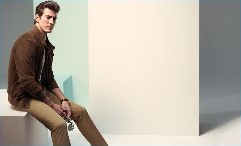 Spanish model Oriol Elcacho wears a sleek look by Pedro del Hierro.