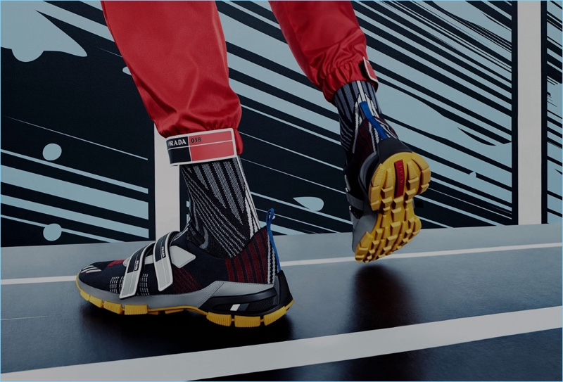 Prada features its comic book-inspired sneakers in its spring-summer 2018 campaign.