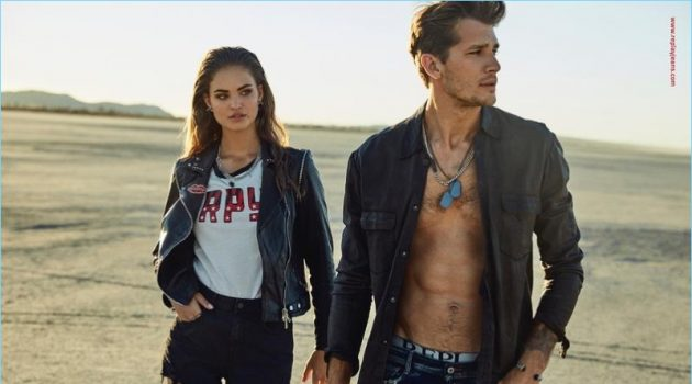 Robin Hölzken and Andrey Zakharov star in Replay's spring-summer 2018 campaign.