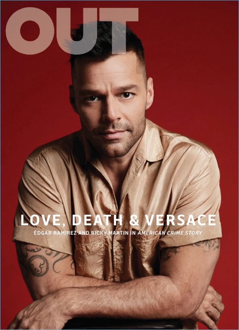 Ricky Martin covers the February 2018 issue of Out magazine.