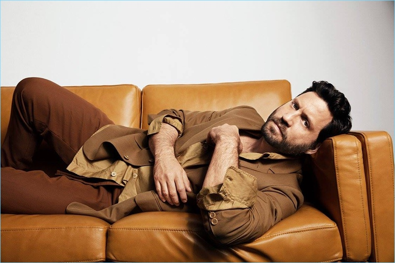 Embracing color, Edgar Ramirez wears a Dries Van Noten shirt and jacket with Salvatore Ferragamo pants.