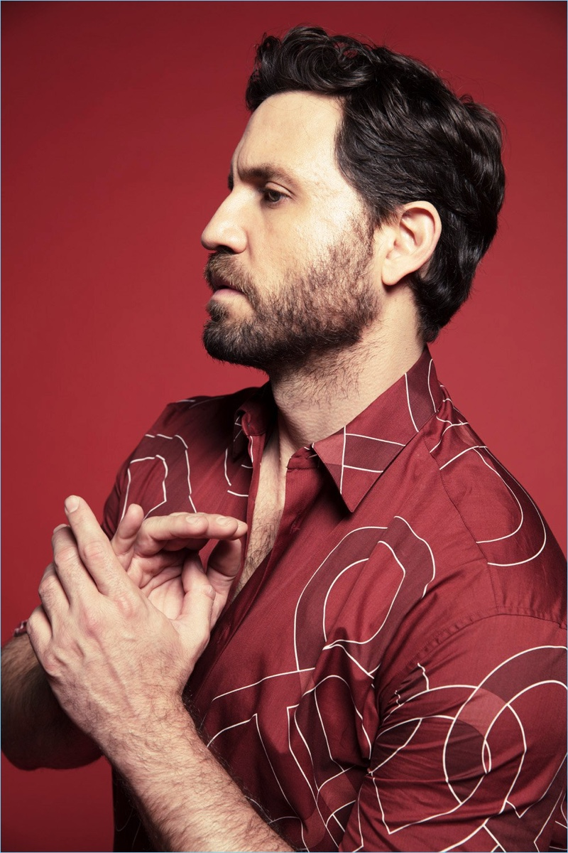 Edgar Ramirez wears a shirt by Bottega Veneta.