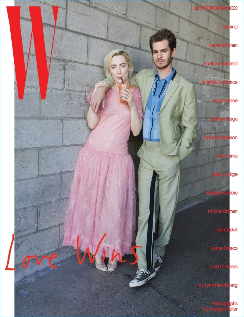 Saoirse Ronan and Andrew Garfield cover W magazine.