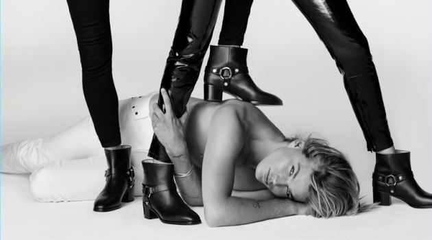 Jordan Barrett joins Gigi Hadid and Kate Moss for Stuart Weitzman's spring-summer 2018 campaign.