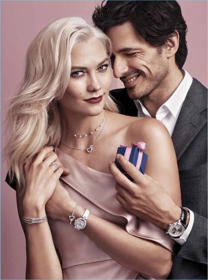 Karlie Kloss and Andres Velencoso front Swarovski's Valentine's Day 2018 campaign.