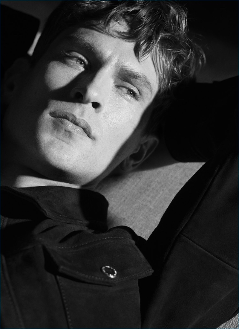 Danish model Mathias Lauridsen appears in Tiger of Sweden's spring-summer 2018 campaign.